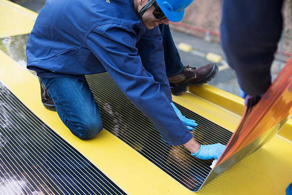 instalação de OPV - filme fotovoltaico orgânico